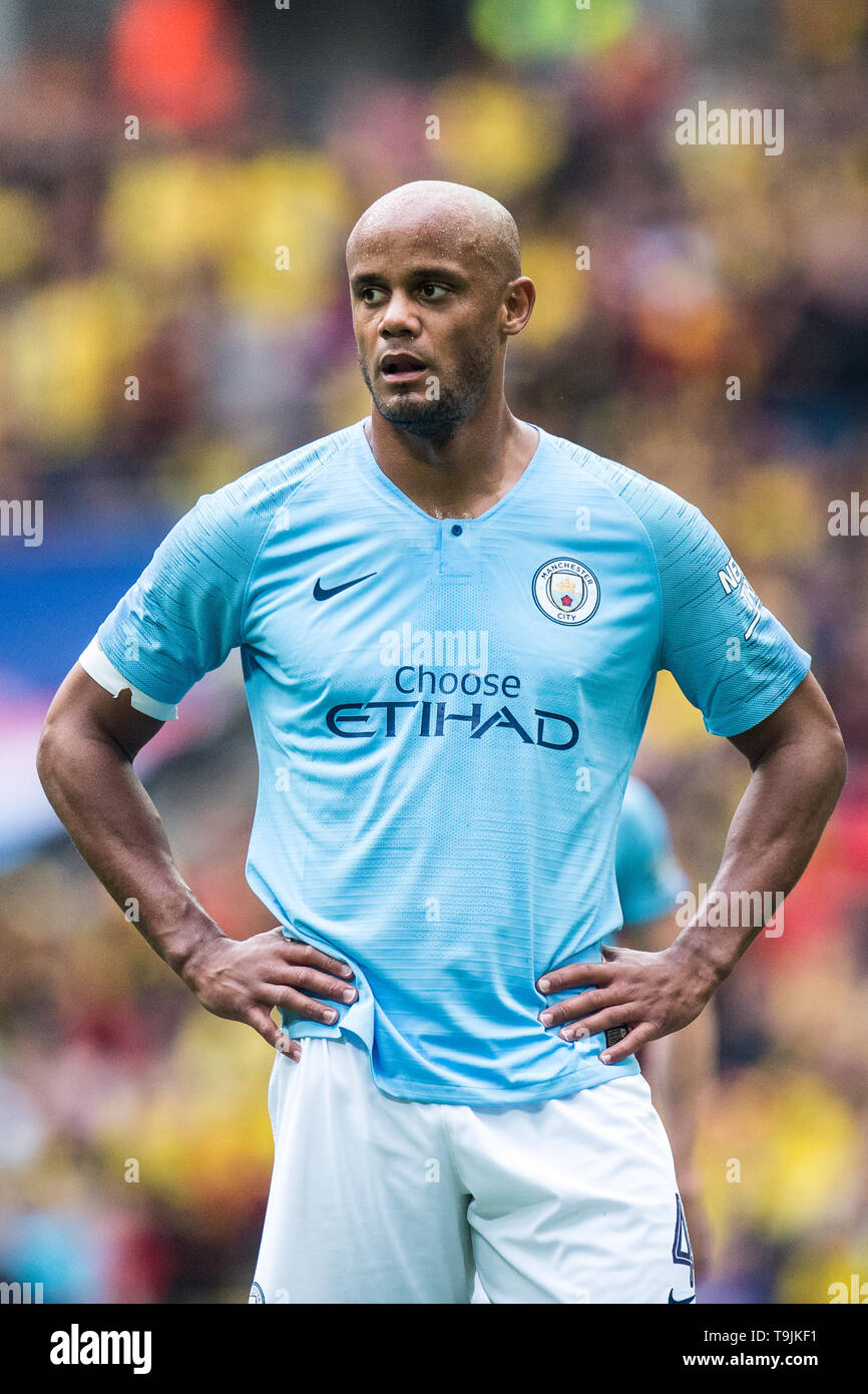 LONDON, ENGLAND - MAY 18: Vincent Kompany of Manchester City looks on during the FA Cup Final match between Manchester City and Watford at Wembley Stadium on May 18, 2019 in London, England. (Photo by Sebastian Frej/MB Media/Getty Images) - Stock Image