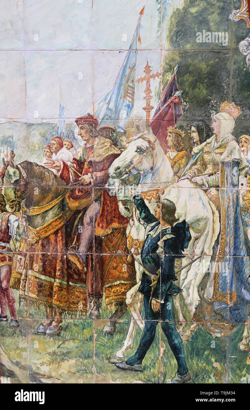 The Capitulation of Granada. Boabdil surrenders to Catholic Monarchs, 1492. Tiles. Spain Square. Seville. Spain. Detail. - Stock Image