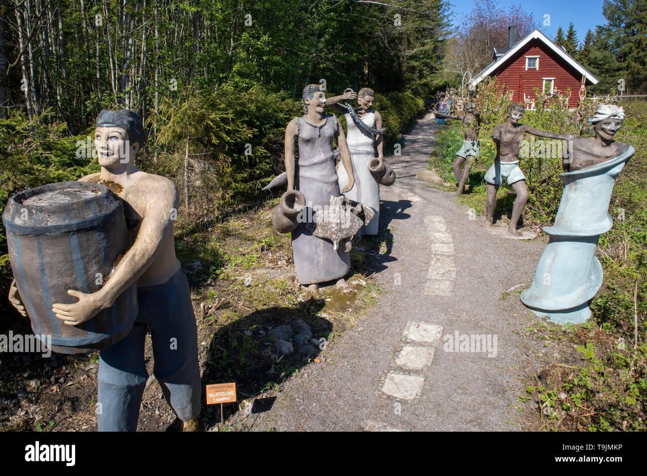 naive art sculptures by artist Veijo Rönkkönen in Parikkala Finland Europe - Stock Image