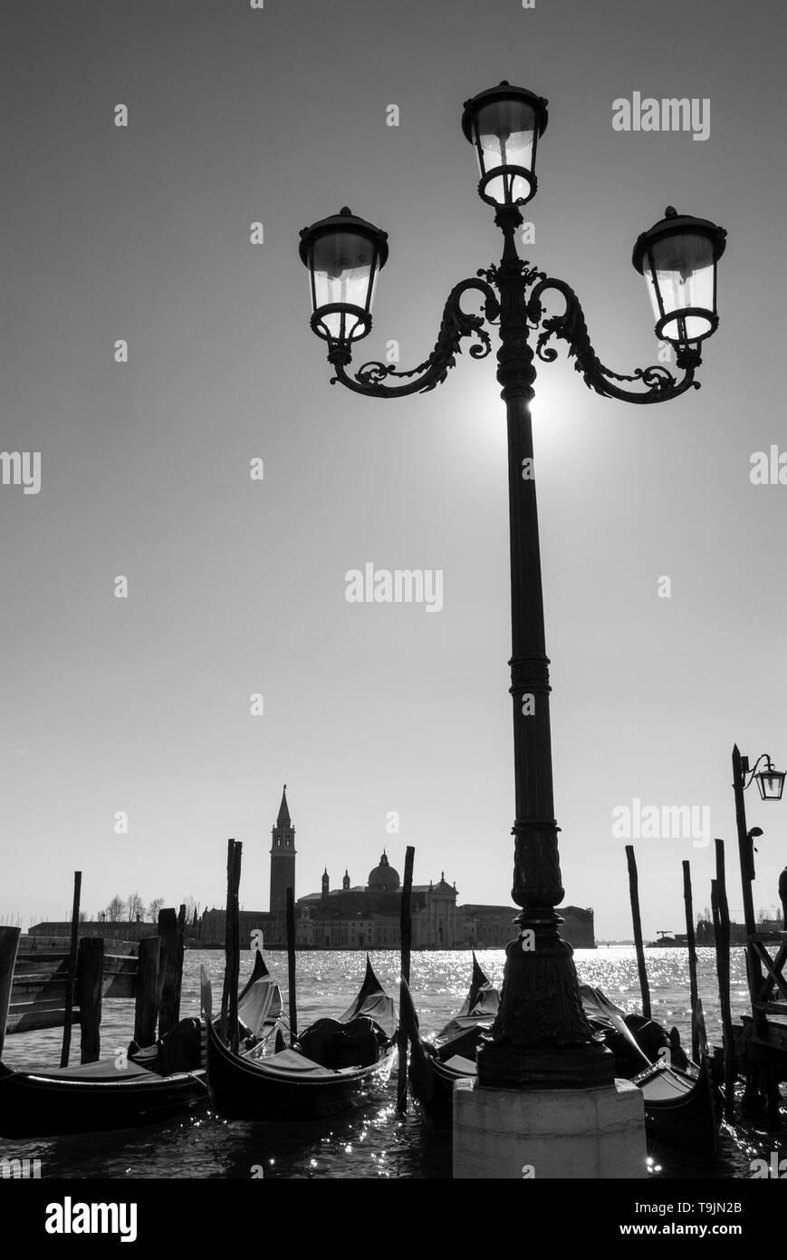 VENICE ITALY VENICE Venetian lamp post on the Riva degli Schiavoni leading from St Marks square Venice Italy EU Europe - Stock Image