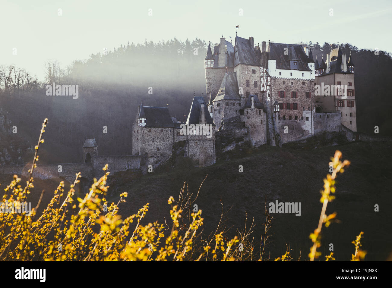 Beautiful view of famous Eltz Castle in scenic golden morning light at sunrise in fall with retro vintage VSCO style filter effect, Wierschem, Rheinla - Stock Image