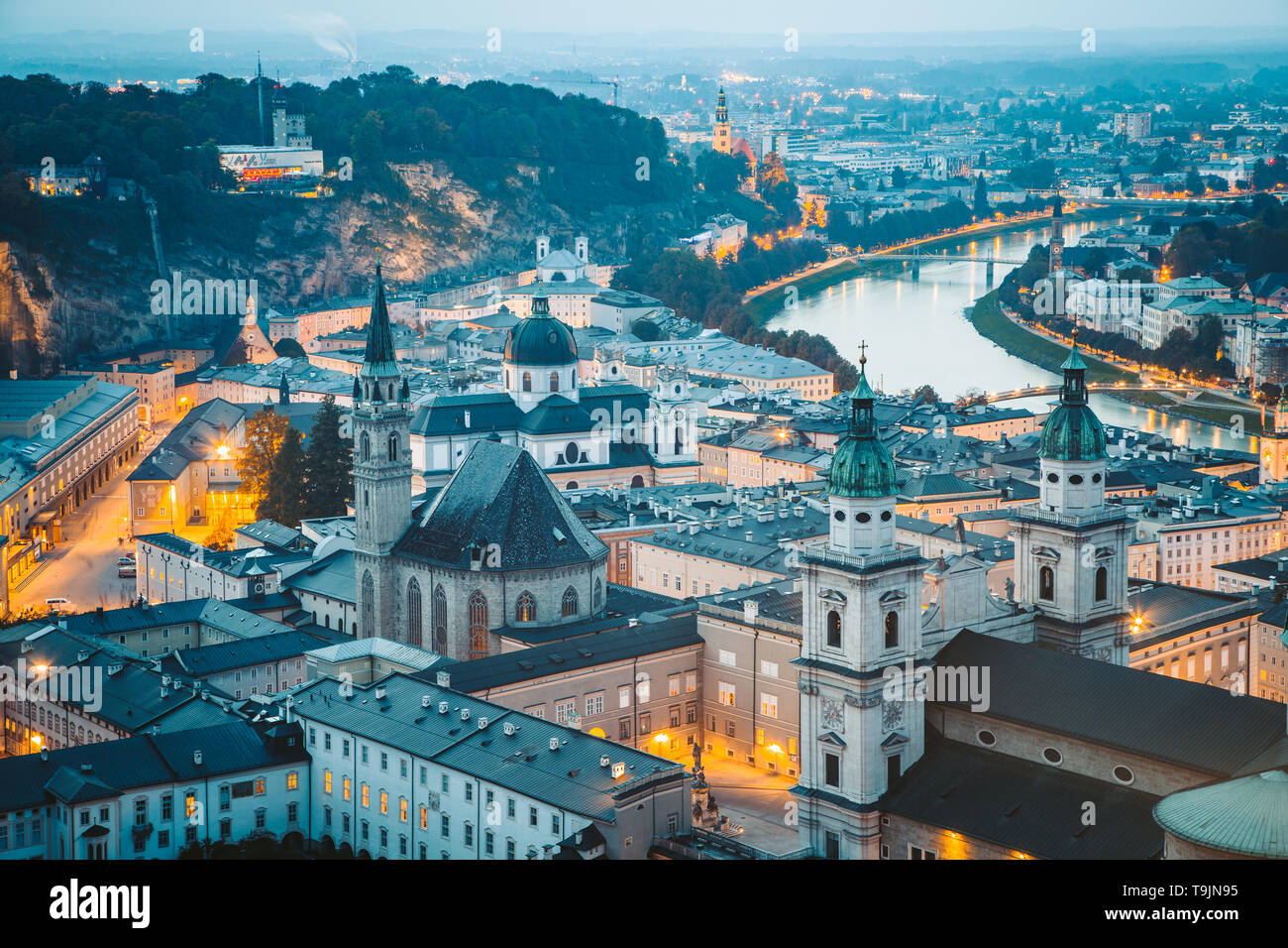 Classic twilight view of the historic city of Salzburg during blue hour at dusk in summer, Salzburger Land, Austria - Stock Image