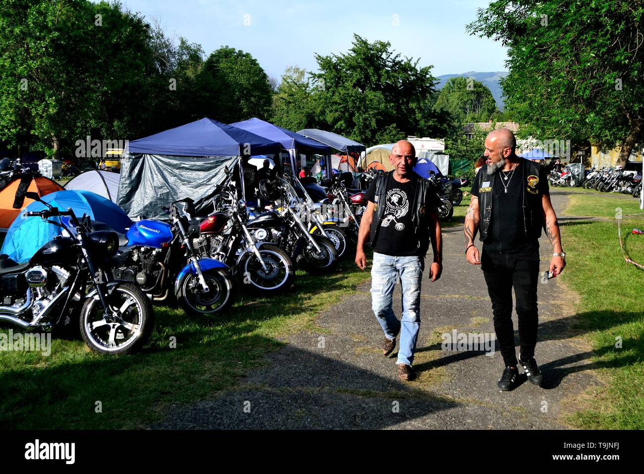 Motorcycle concentration' Black Roses ' - Rose Festival in KAZANLAK.-.Bulgaria  											  					  			 	  	  			 	    	 - Stock Image