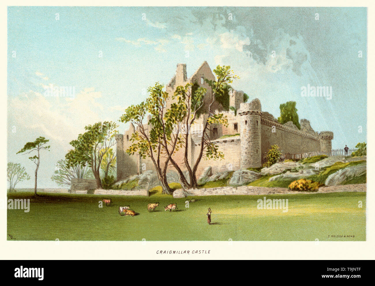 Vintage print of Craigmillar Castle circa 1880. Craigmillar Castle is a ruined medieval castle in Edinburgh, Scotland. It was begun in the late 14th century by the Preston family, feudal barons of Craigmillar, and extended through the 15th and 16th centuries. Stock Photo