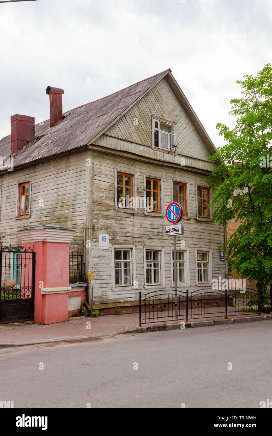 Kaluga, Russia - May 11, 2019: old green country style two floor house - Stock Image