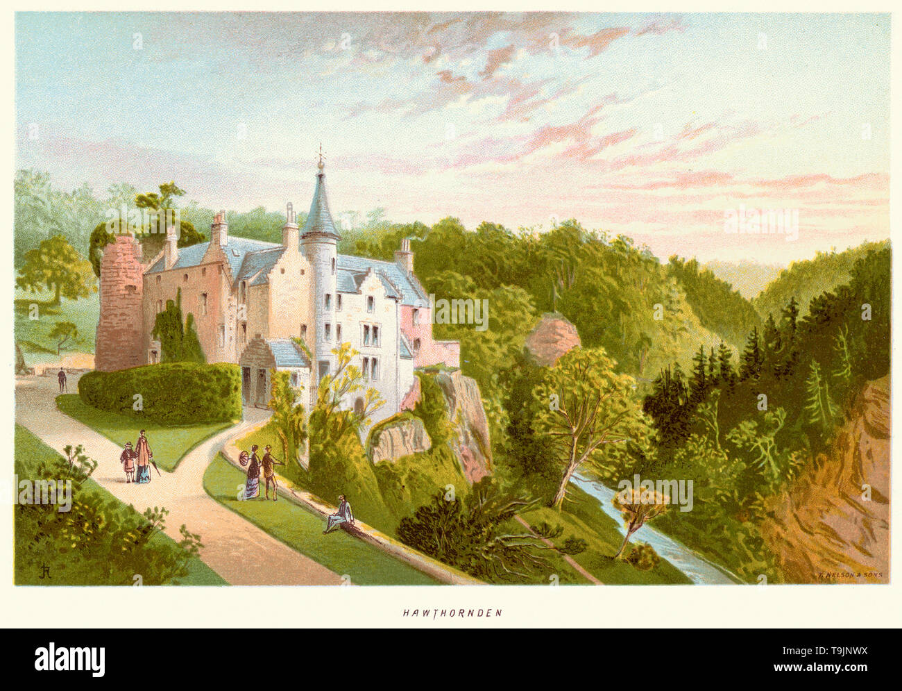 Vintage print of Hawthornden Castle located on the River North Esk in Midlothian, Scotland. Hawthornden was a property of the Abernethy family from the 13th century, and passed to the Douglases in the 14th century. The earliest parts of the castle date from the 15th century, and include a large three-storey tower, and the south curtain wall of a triangular courtyard. The castle was sacked twice by the Earl of Hertford in 1544 and 1547 during The Rough Wooing. Stock Photo