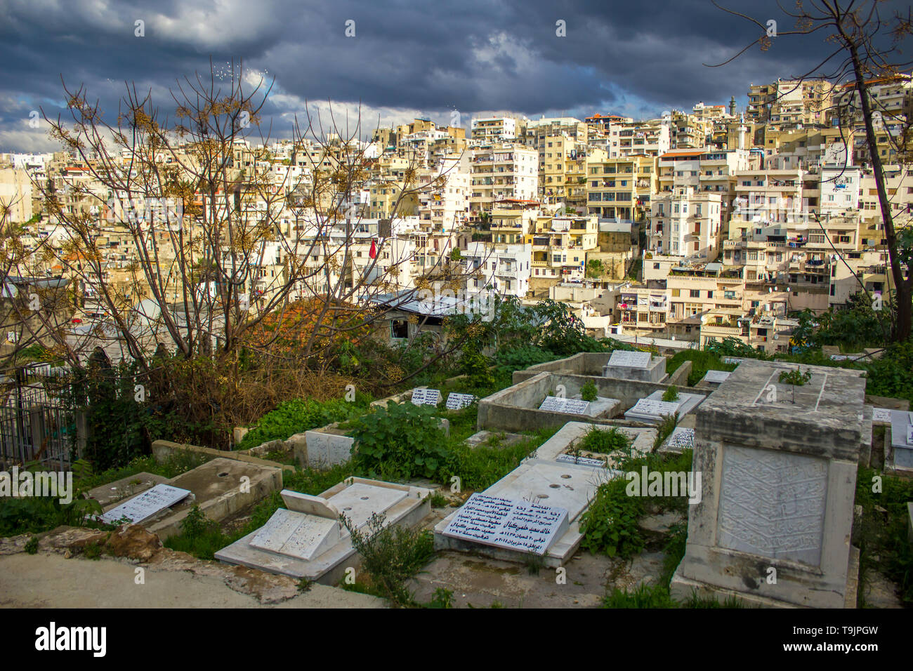 Tripoli, Lebanon - January 15, 2016: Cemetery and top view on residential area in Tripoli, Lebanon - Stock Image