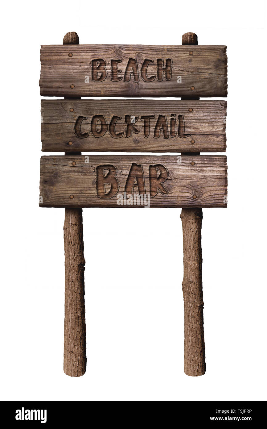 Summer Wooden Board Sign with Text, Beach Cocktail Bar Isolated On White Background - Stock Image