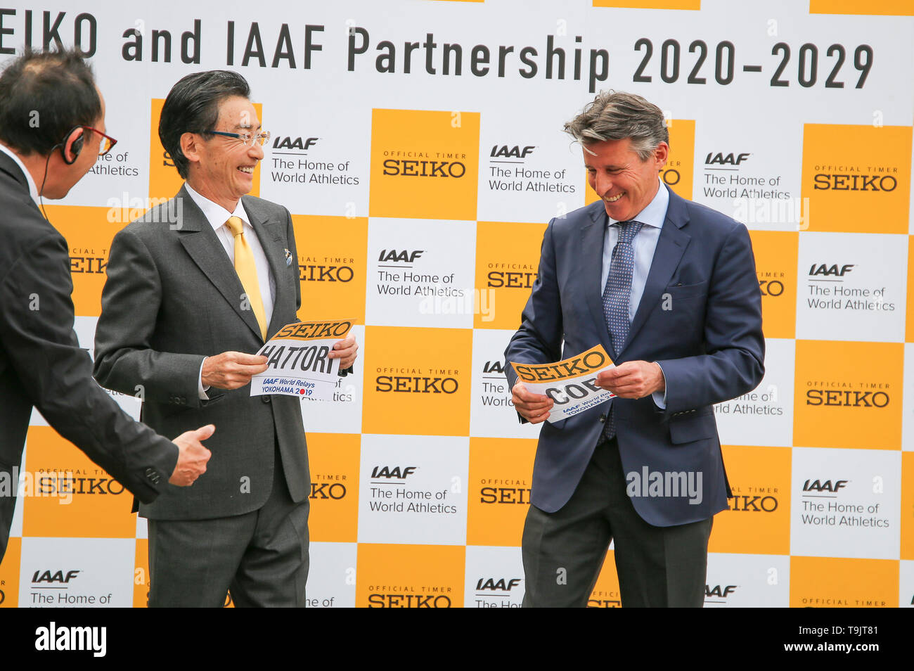 YOKOHAMA, JAPAN - MAY 10: The CEO of Seiko, Mr Shinji Hattori and the IAAF President Sebastian Coe during the official Seiko announcement at the 2019 IAAF World Relay Championships at the Nissan Stadium on May 10, 2019 in Yokohama, Japan. (Photo by Roger Sedres for the IAAF) - Stock Image