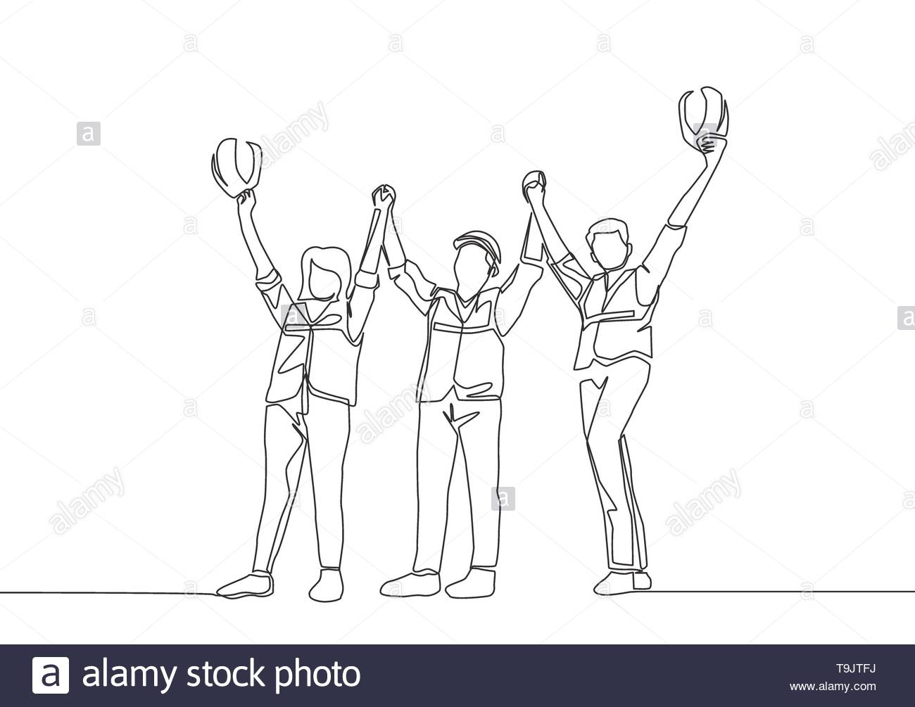 One line drawing of young architect woman and builder wearing construction vest fist their hands up