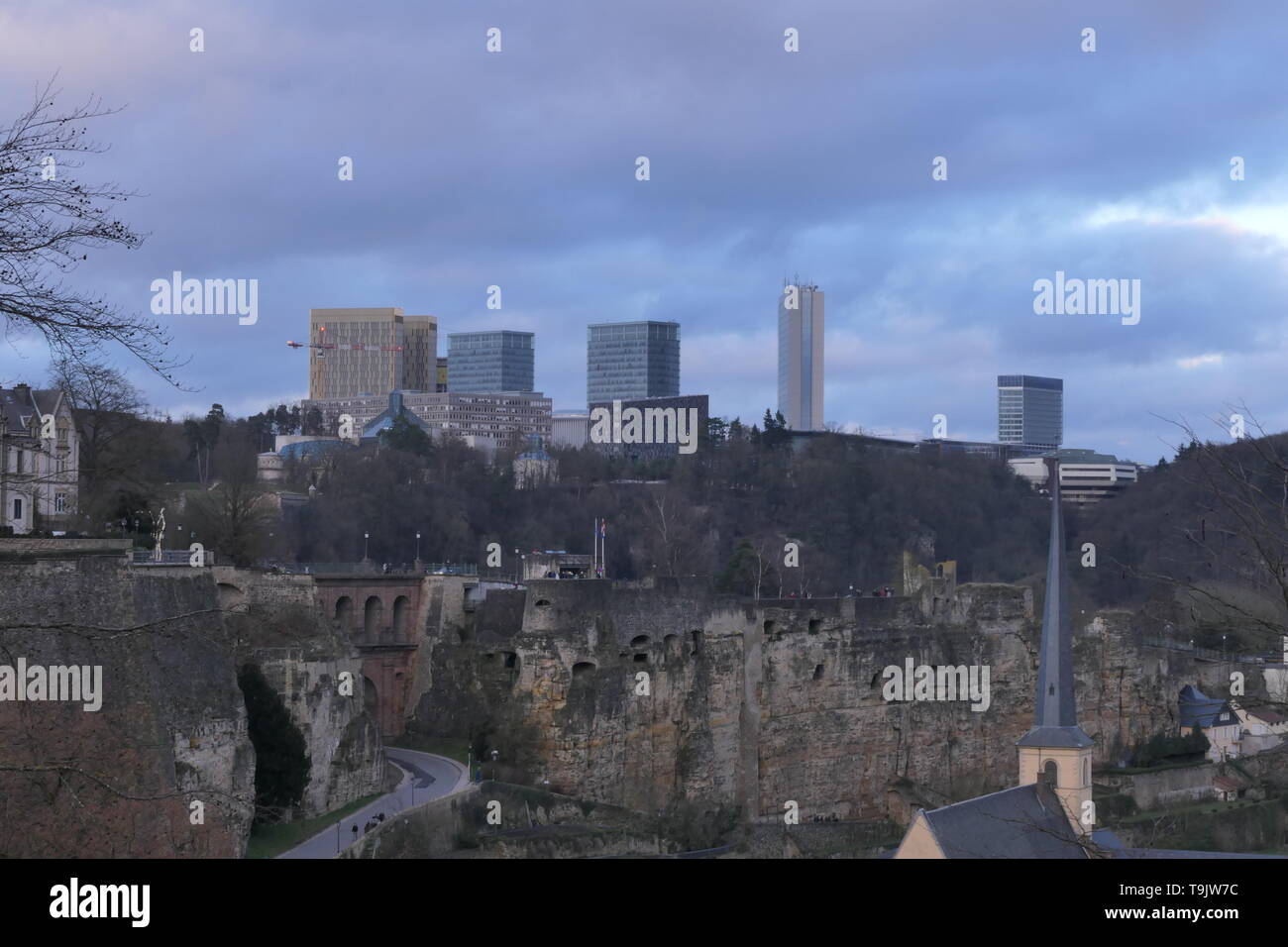 Contrast between the old part and the new part of the city of Luxembourg - Stock Image