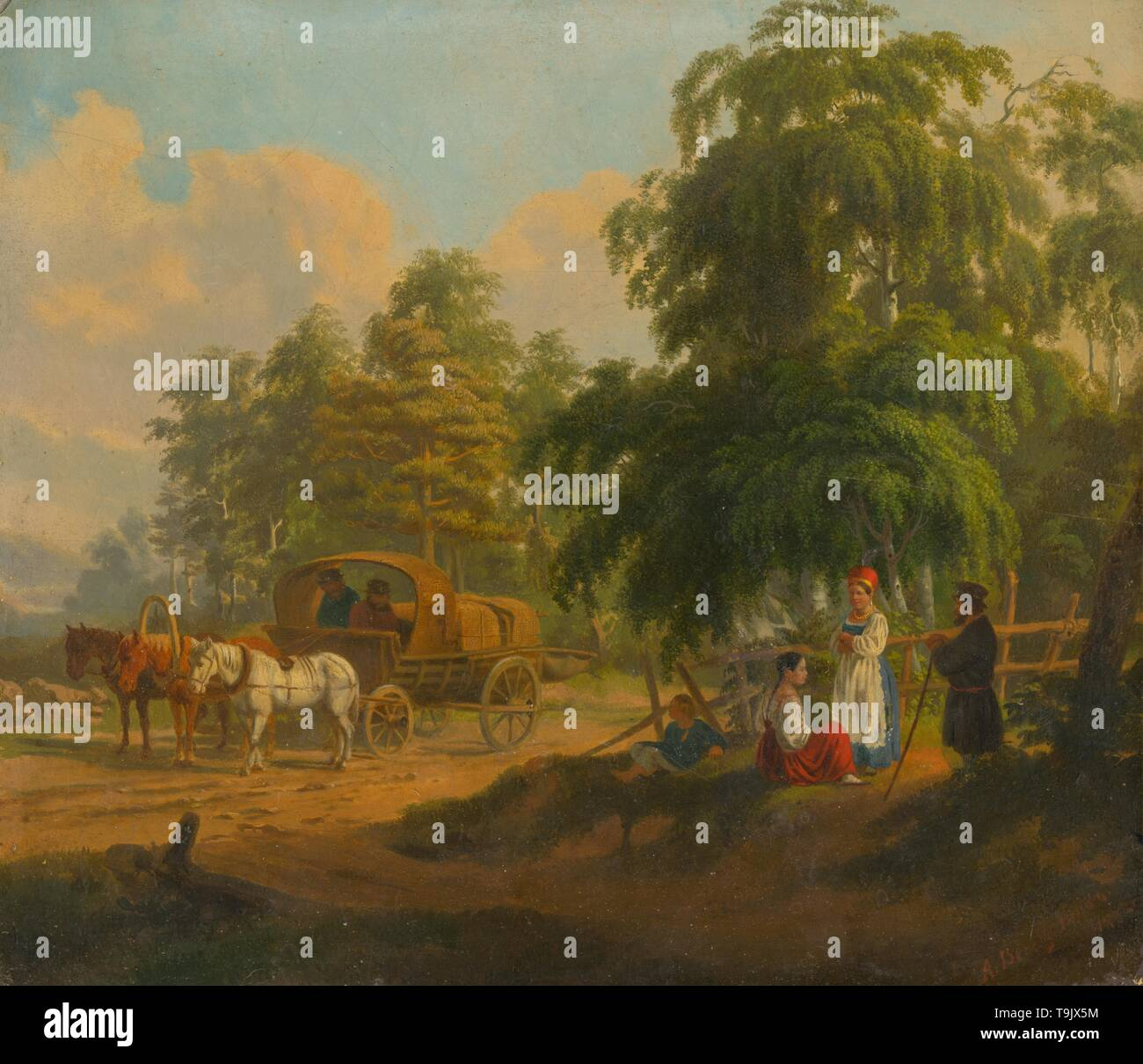 Landscape with Russian Troika. Museum: Slovak National Gallery, Bratislava. Author: Alexei Gavrilovich Venetsianov. - Stock Image
