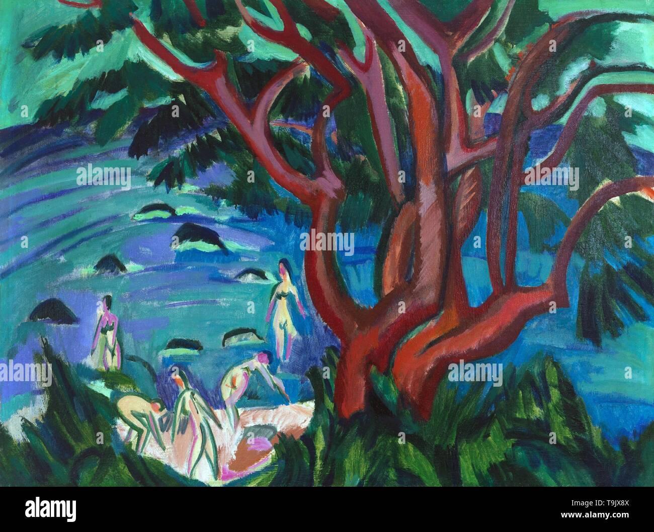 Red tree at the beach. Museum: PRIVATE COLLECTION. Author: ERNST LUDWIG KIRCHNER. - Stock Image
