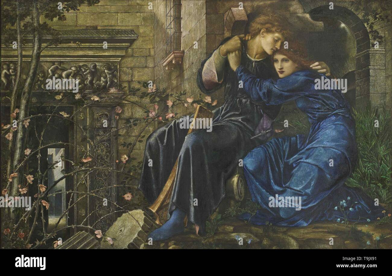 Love among the Ruins. Museum: PRIVATE COLLECTION. Author: Sir Edward Coley Burne-Jones. - Stock Image
