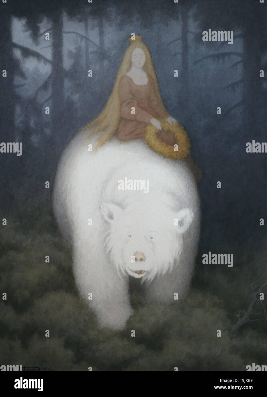 White-Bear-King-Valemon. Museum: PRIVATE COLLECTION. Author: THEODOR KITTELSEN. - Stock Image