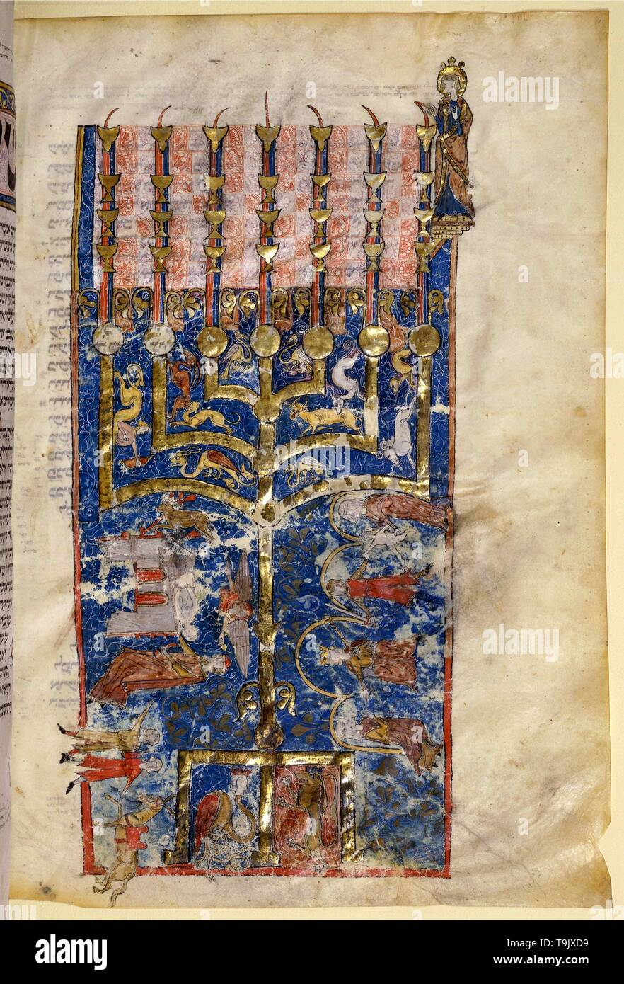 Pentateuch with the Menorah. Museum: BIBLIOTHEQUE NATIONALE DE FRANCE. Author: ANONYMOUS. - Stock Image