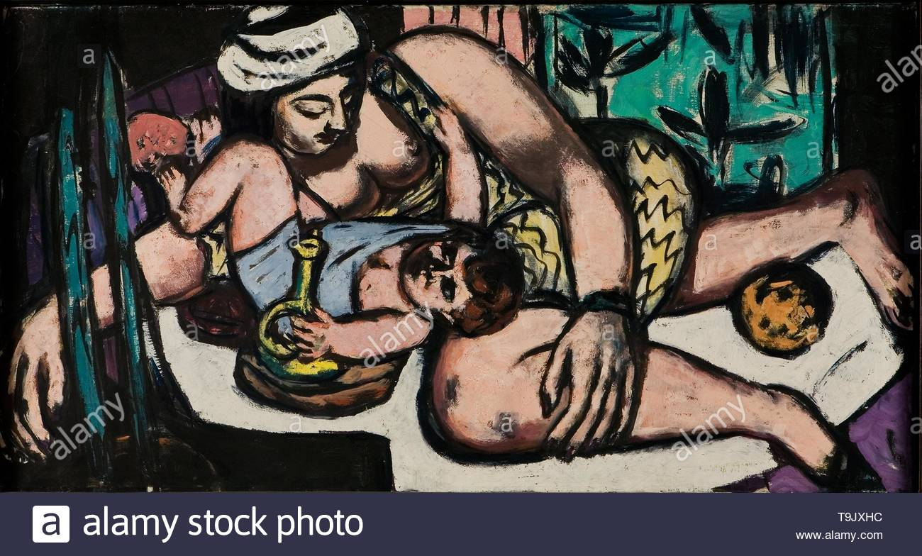 Mother with playing child. Museum: Kunsthalle Bielefeld. Author: MAX BECKMANN. - Stock Image