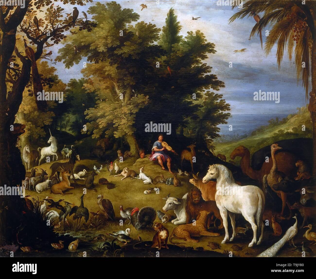 Orpheus among the animals. Museum: Galleria Borghese, Rome. Author: Sebastiaen Vrancx. - Stock Image