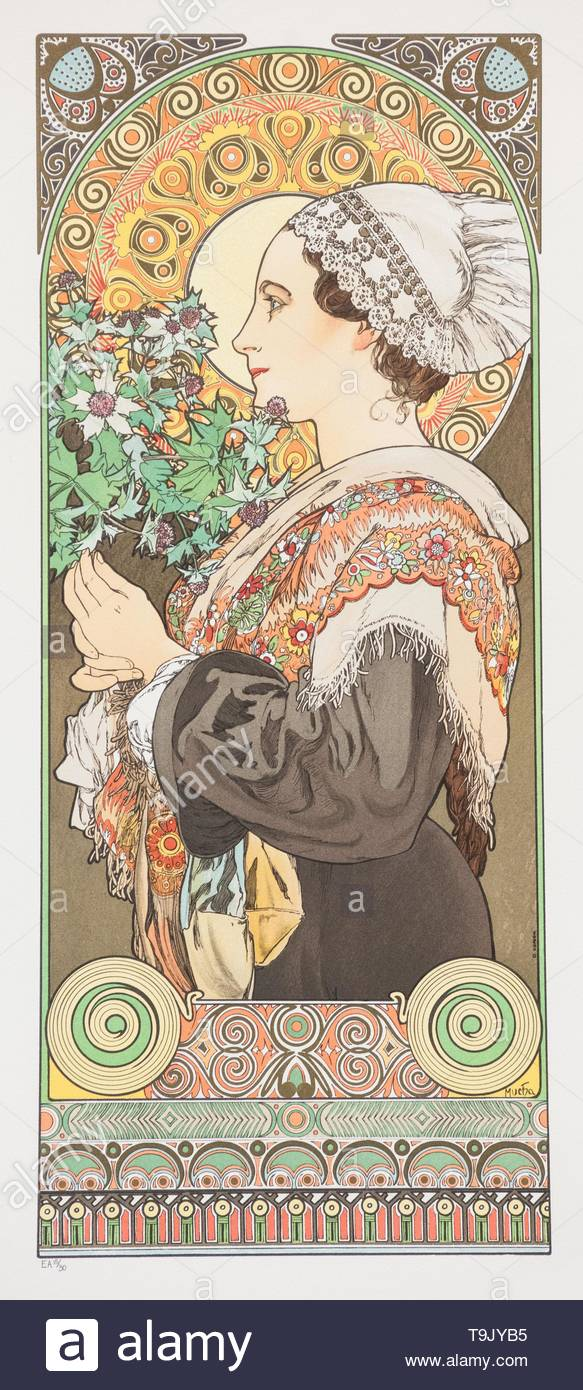 Chardon de Grève. (Thistle from the Sands). Museum: PRIVATE COLLECTION. Author: Alfons Marie Mucha. - Stock Image