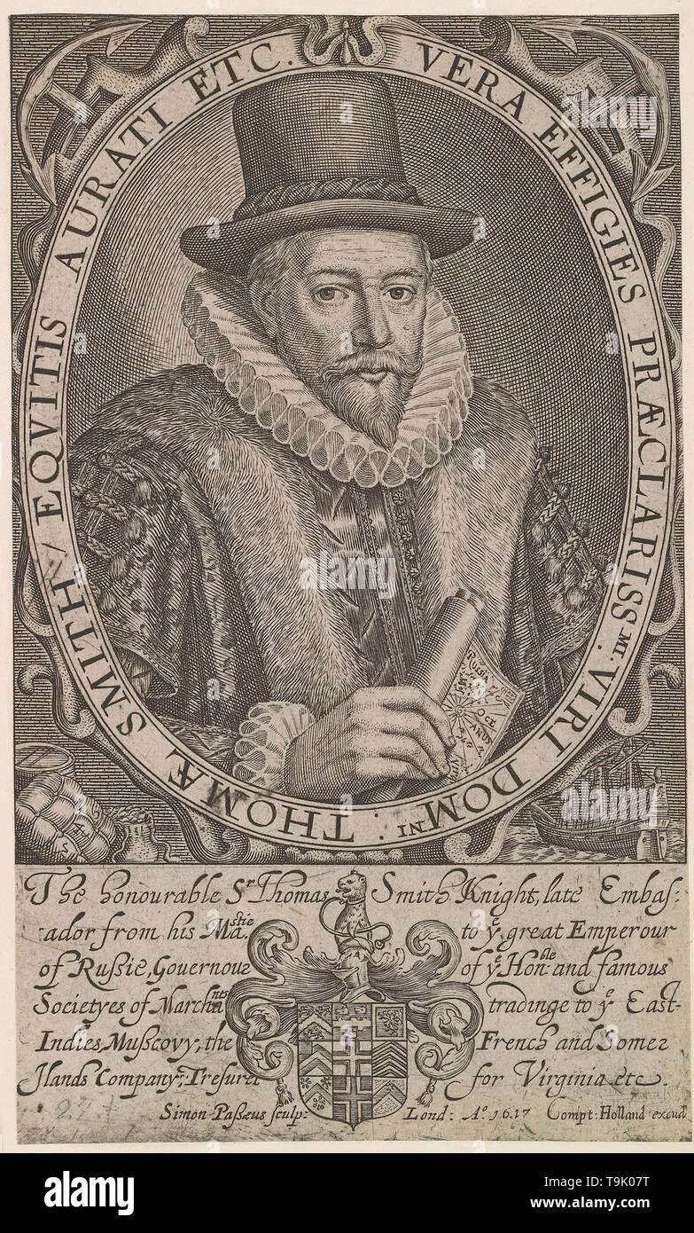 Sir Thomas Smith (c. 1558?1625), first Governor of the East India Company, ambassador to Russia 1604-1605. Museum: PRIVATE COLLECTION. Author: Simon van de Passe. - Stock Image