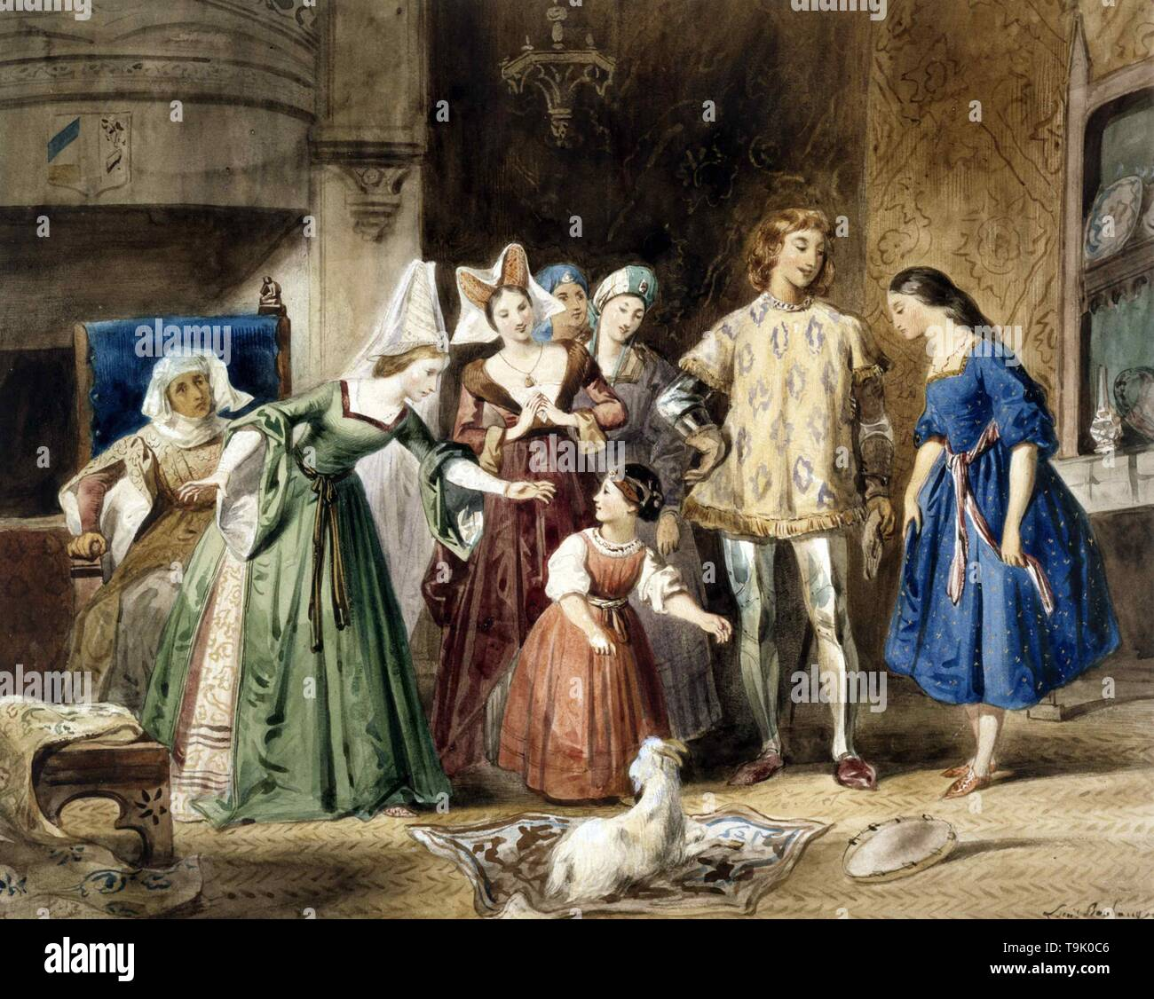 Esmeralda at Madame de Gondelaurier. The Hunchback of Notre-Dame by Victor Hugo. Museum: Maison de Victor Hugo. Author: Louis Candide Boulanger. - Stock Image