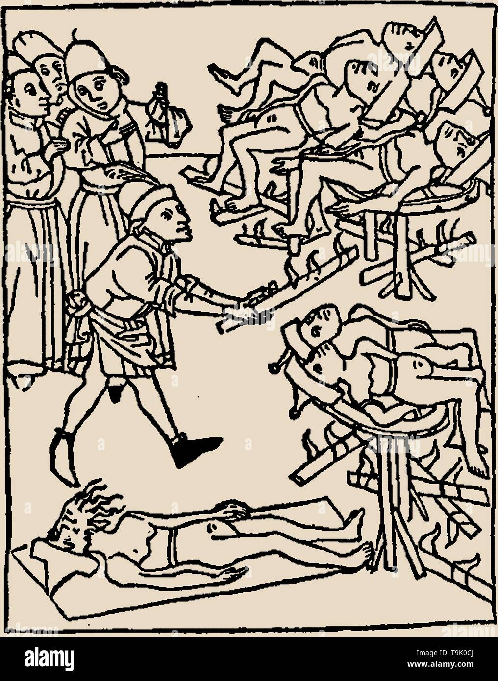 Well poisoning: Torture of the Jews. Museum: PRIVATE COLLECTION. Author: ANONYMOUS. - Stock Image