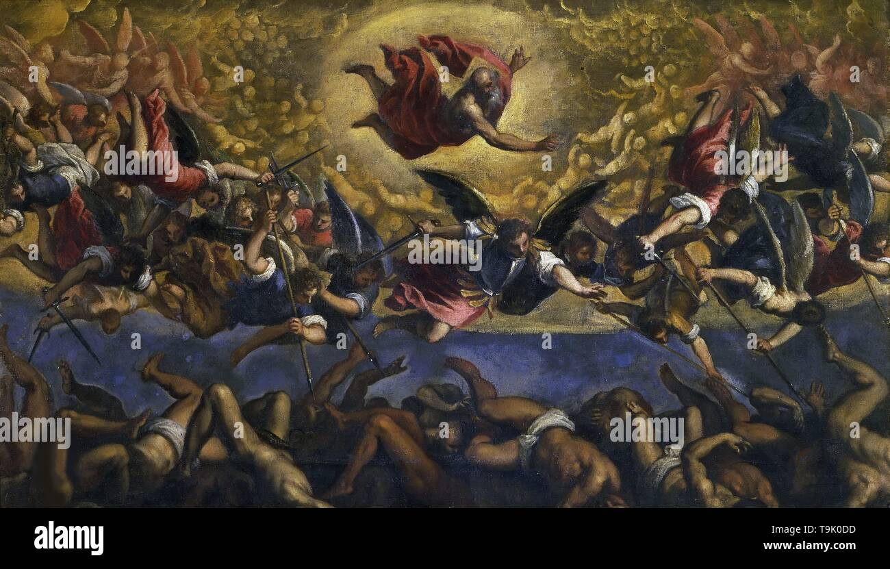 The Fall of the Rebel Angels. Museum: Galleria Borghese, Rome. Author: Palma il Giovane, Jacopo, the Younger. - Stock Image