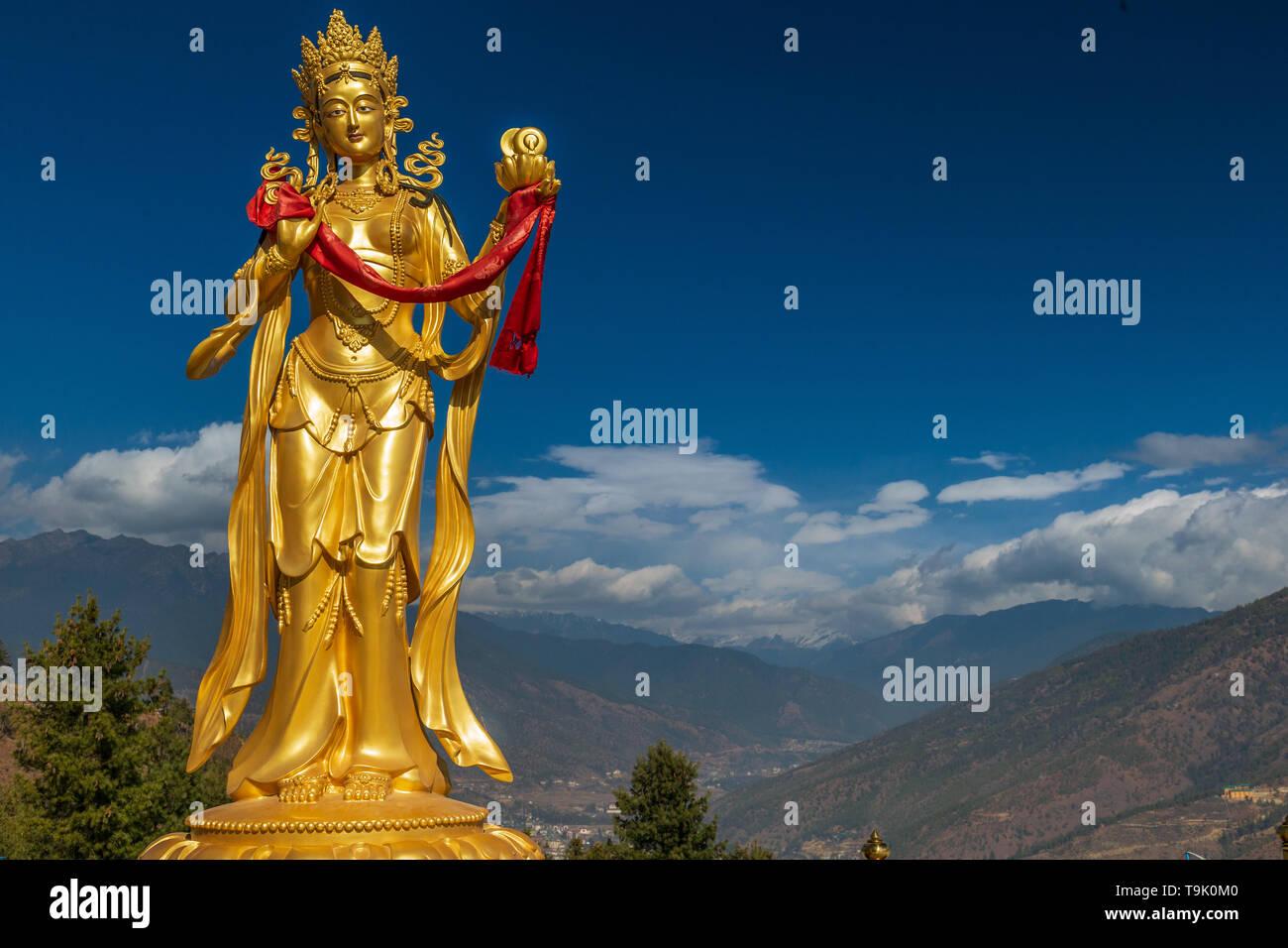 Gilded Bodhisattva statue at the Buddha Dordenma statue - Stock Image