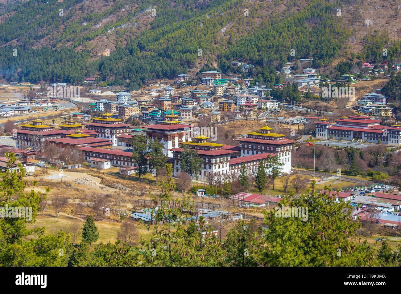 The main Dzong in the capital of Bhutan. It houses a monastery and governmental office rooms which are combined with the kingship. - Stock Image