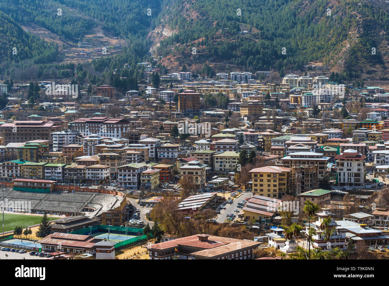 Thimphu is one of the fastest growing capitals in Asia - Stock Image
