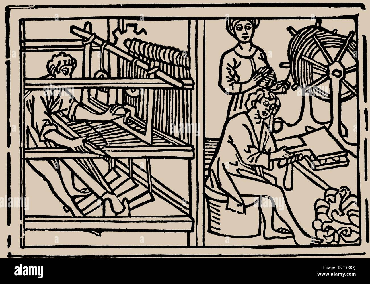 Combing, spinning and weaving of wool. From Speculum Vitae Humanae by Rodericus Zamorensis. Museum: PRIVATE COLLECTION. Author: ANONYMOUS. - Stock Image