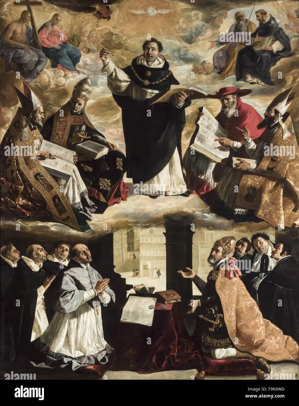 The Apotheosis of Saint Thomas Aquinas. Museum: Museo de Bellas Artes, Sevilla. Author: FRANCISCO DE ZURBARÁN. - Stock Image