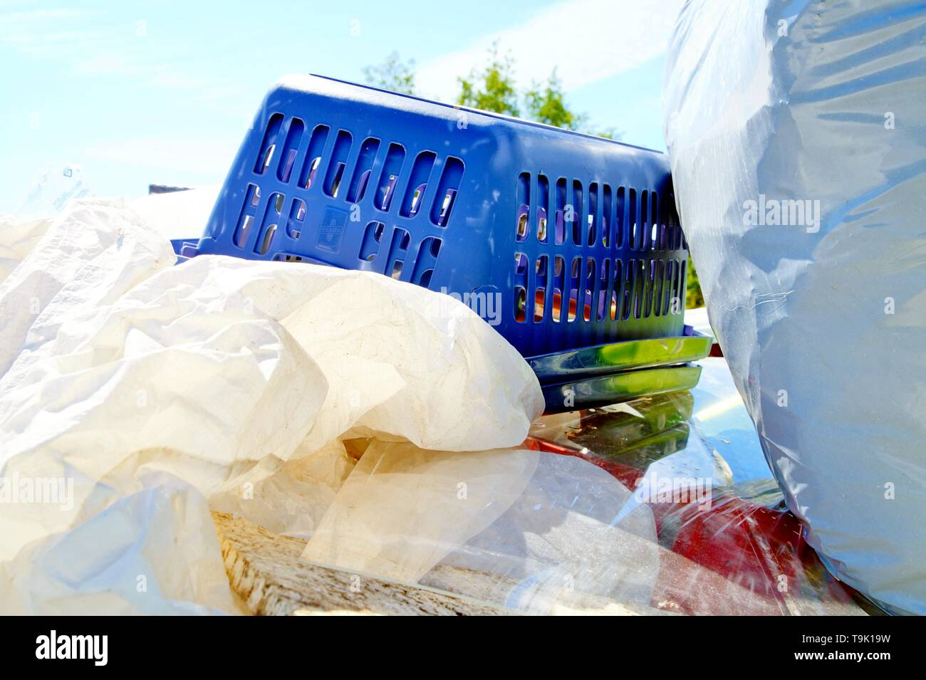 Large amount of used plastic about to be recycled. plastic Waste Disposal concept for plastic consumerism, modernization, digital age, urbanization, e - Stock Image