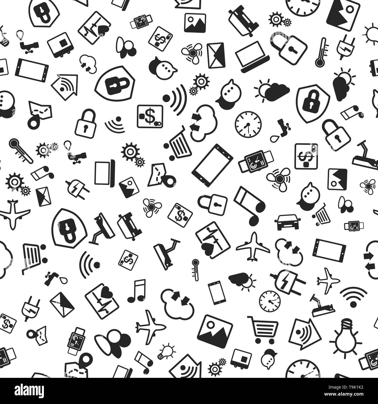 IOT concept. Internet of things icons seamless pattern. Vector illustration - Stock Image