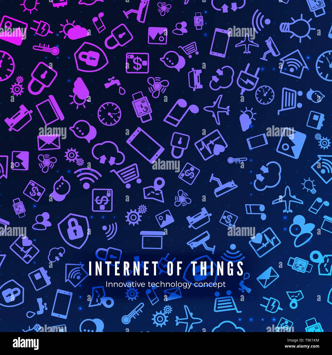 IOT concept. Internet of things color icons pattern. Vector illustration - Stock Image