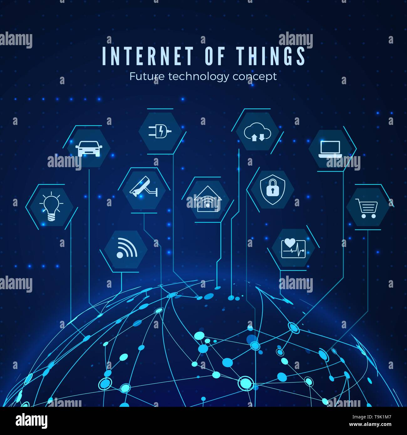 Internet of things. IOT concept. Global network connection. Monitoring and control smart systems. Vector illustration - Stock Image