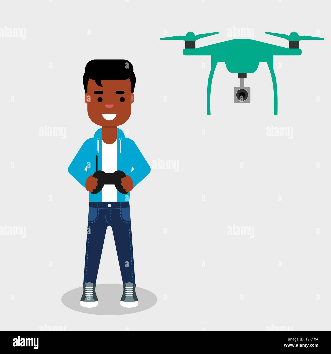 Young African American man flying drone with remote control. Smiling character controls aerial drone with a camera.Operating a drone to take pictures - Stock Vector