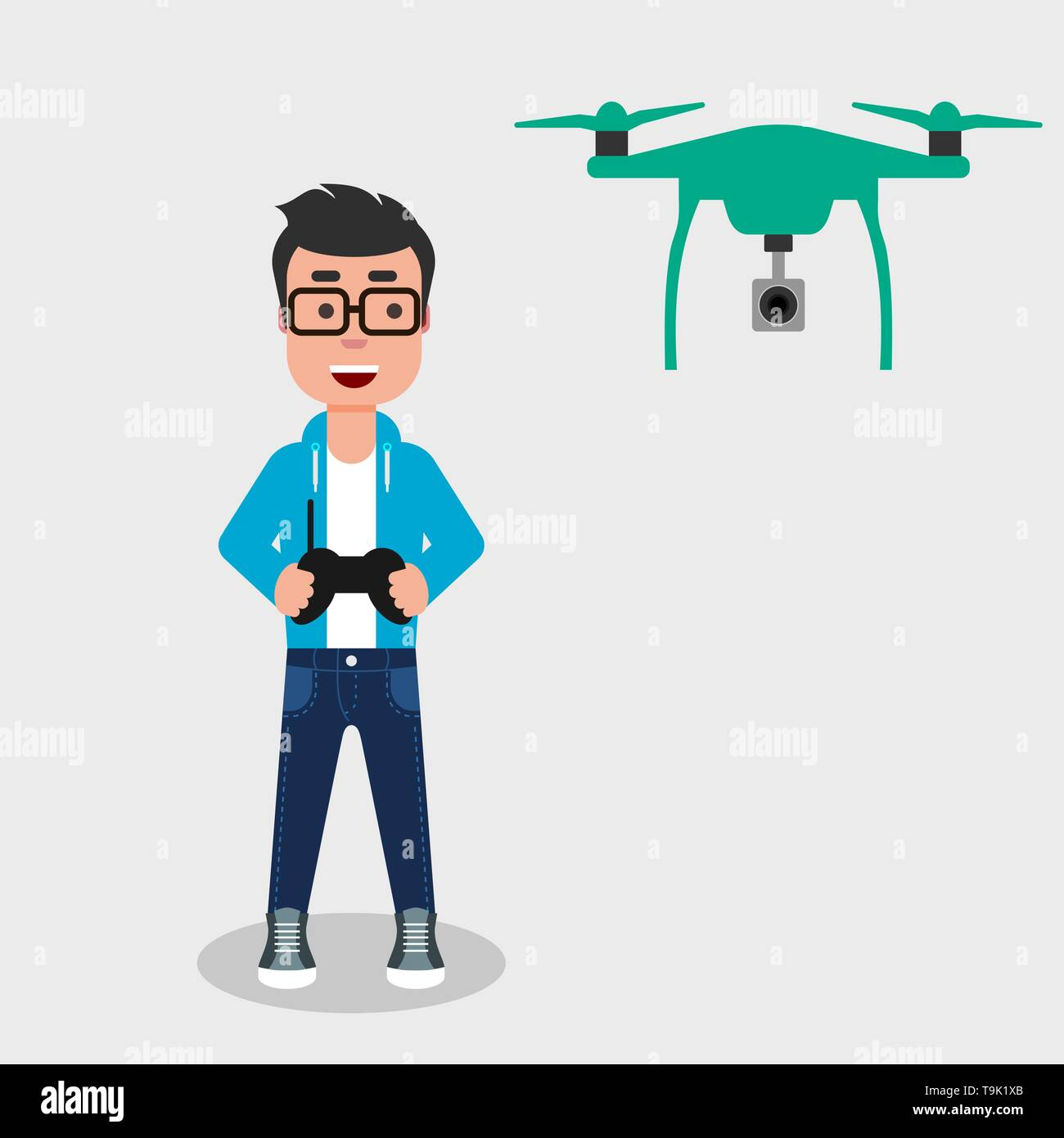 Young happy man flying drone with remote control. Smiling character controls aerial drone with a camera. Operating a drone to take pictures or video. - Stock Image