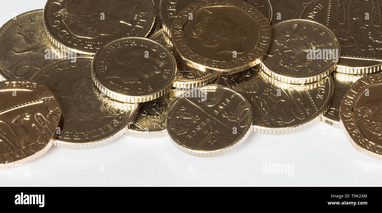 Pile of silver loose change - Stock Image