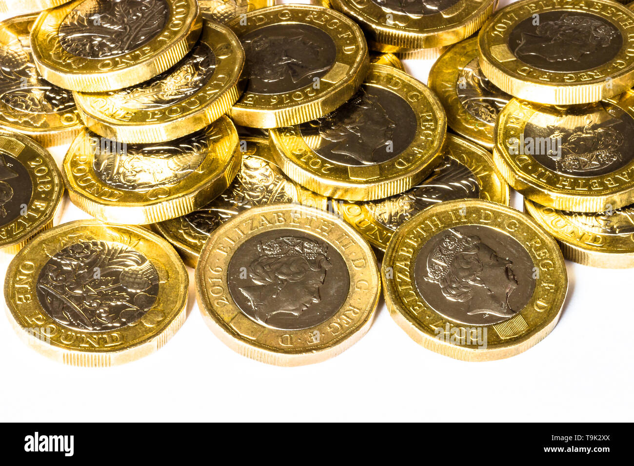 Loose pound coins - Stock Image