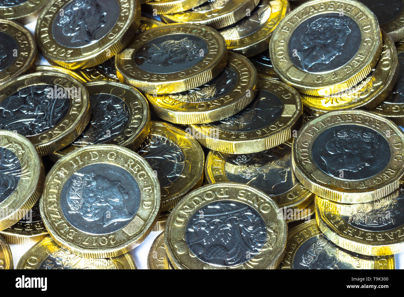 Pile of £1 coins - Stock Image