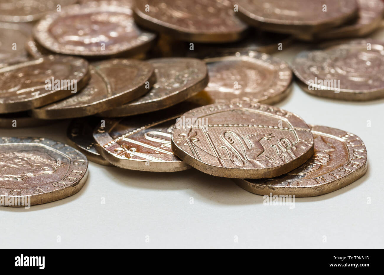 A pile of twenty pence pieces. - Stock Image