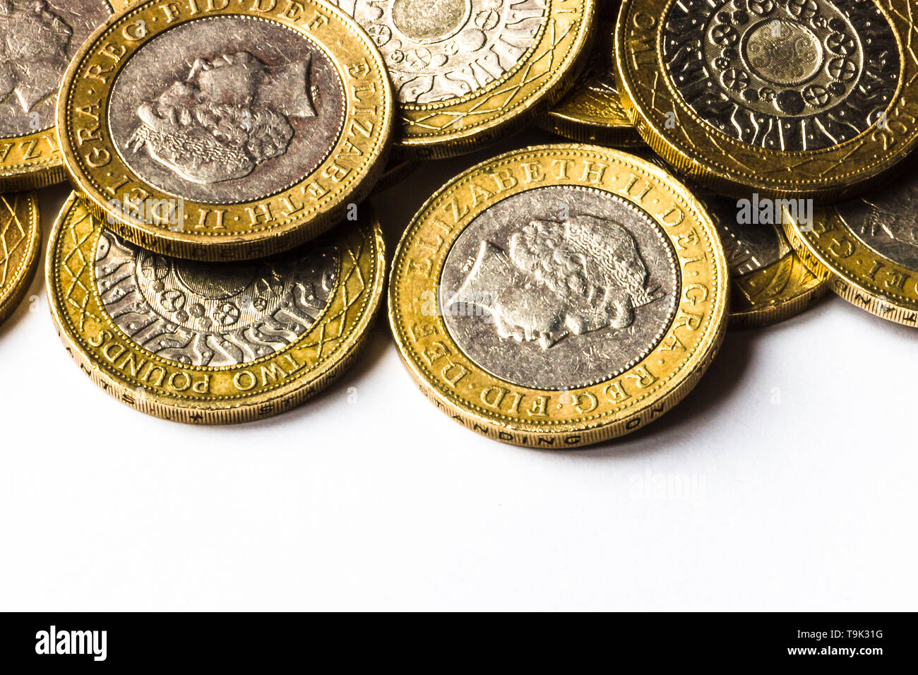 A pile of two pound coins. - Stock Image