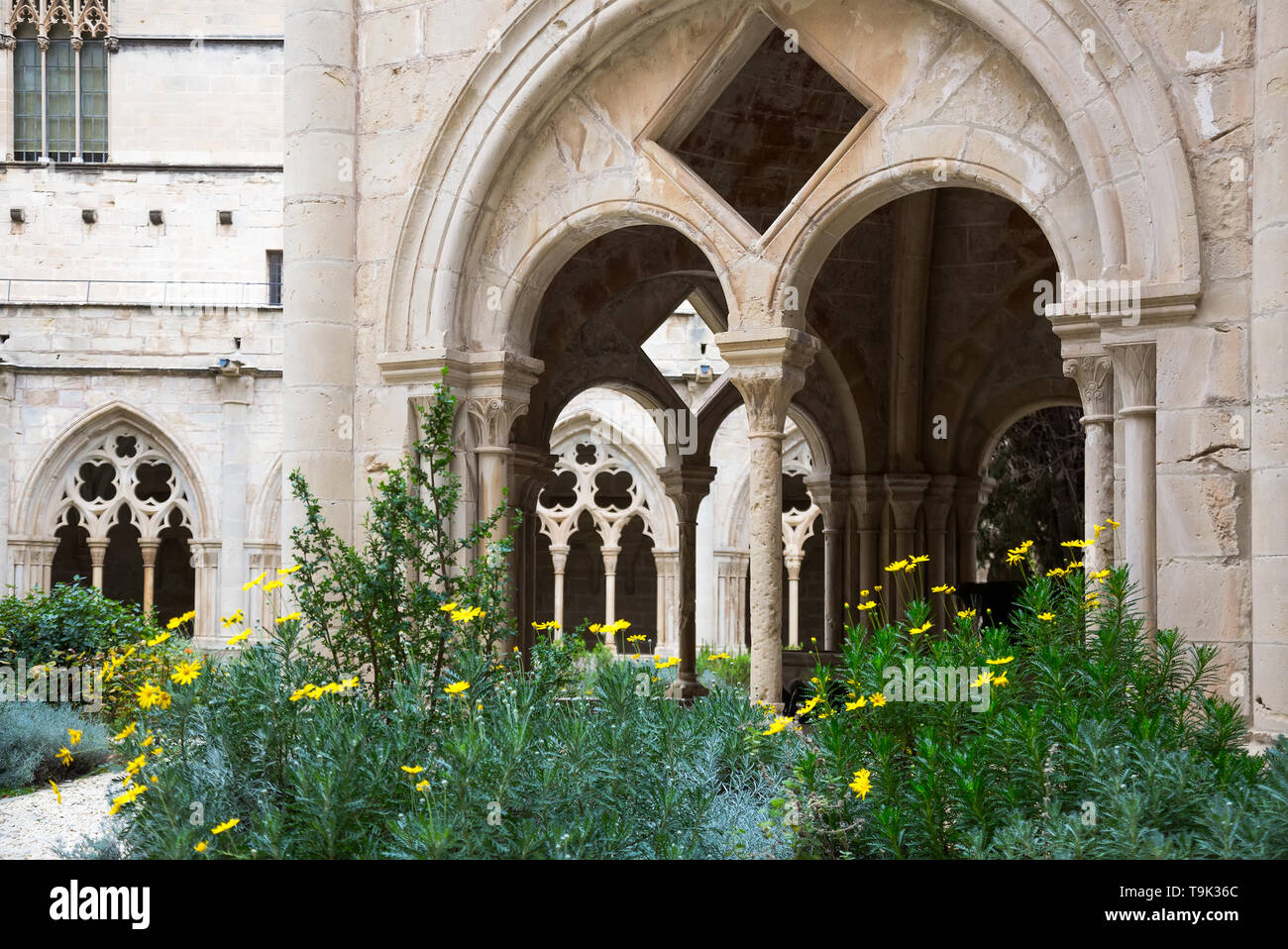 Picturesque inner court of Poblet Monastery at day in Catalonia - Stock Image