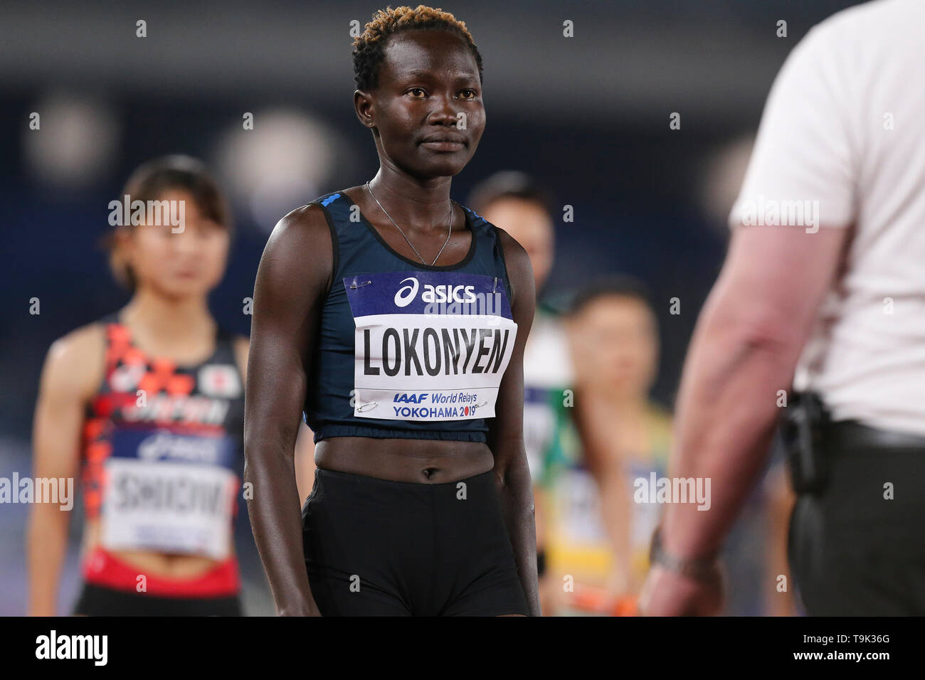 YOKOHAMA, JAPAN - MAY 10: Rose Nathike Lokonyen of the Athlete Refugee Team during Day 1 of the 2019 IAAF World Relay Championships at the Nissan Stadium on Saturday May 11, 2019 in Yokohama, Japan. (Photo by Roger Sedres for the IAAF) - Stock Image