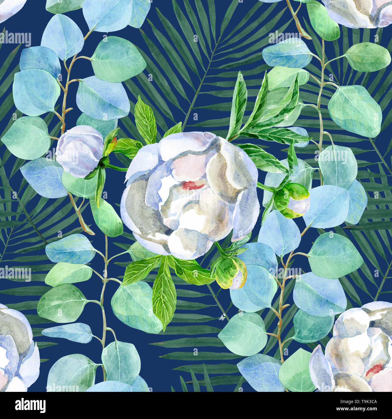 Navy Blue Flower Pattern High Resolution Stock Photography And Images Alamy