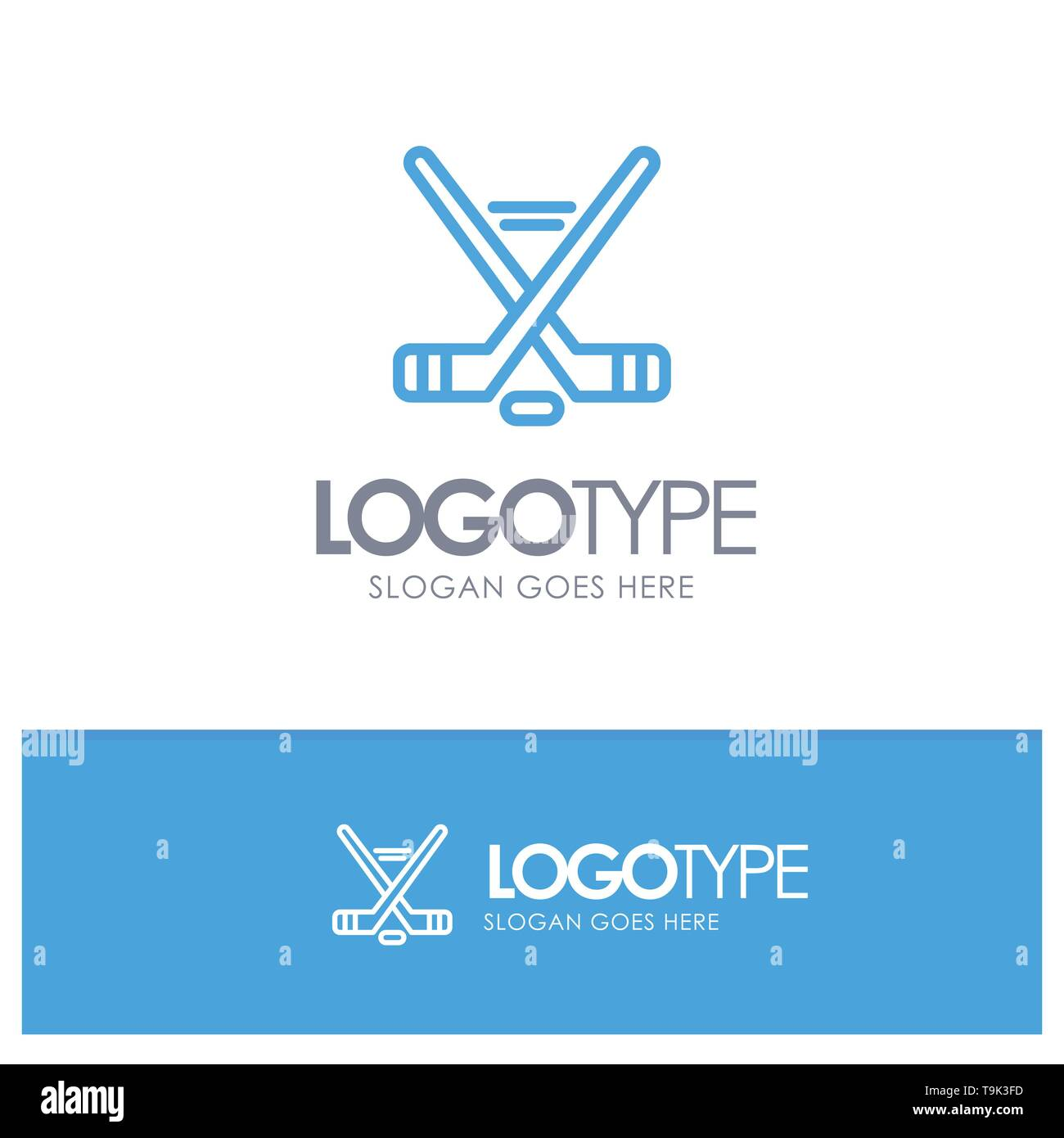Hokey, Ice Sport, Sport, American Blue Outline Logo Place for Tagline - Stock Image
