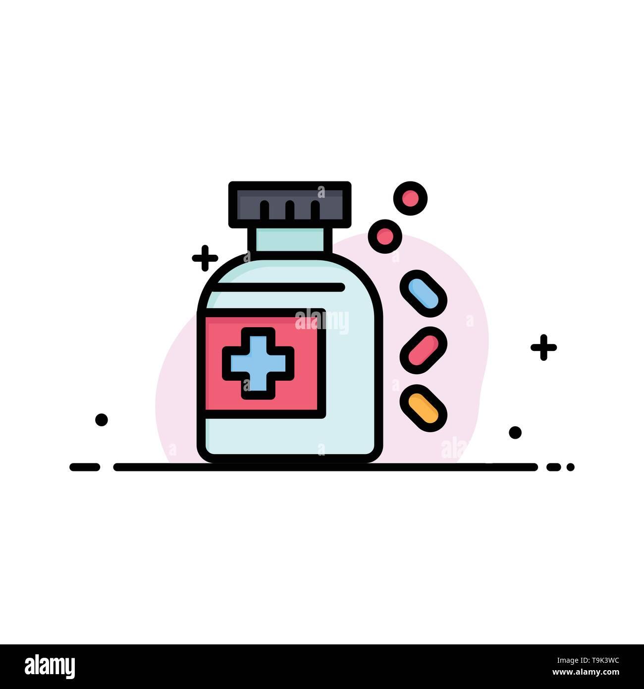 Bottle, Medicine, Tablet  Business Flat Line Filled Icon Vector Banner Template - Stock Image