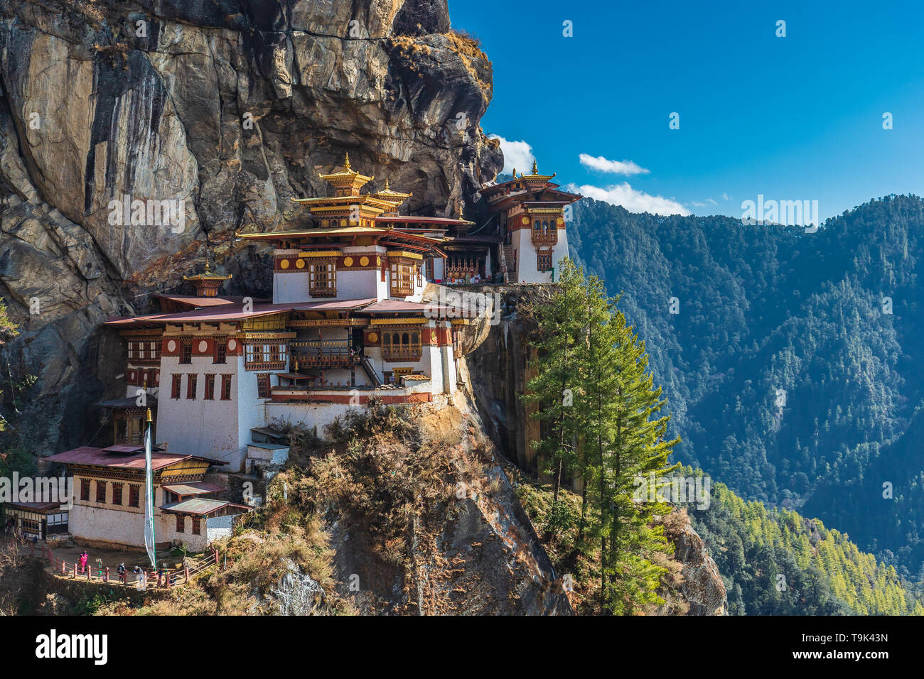 The most sacred place in Bhutan is located on the 3,000-foot high cliff of Paro valley, Bhutan. - Stock Image