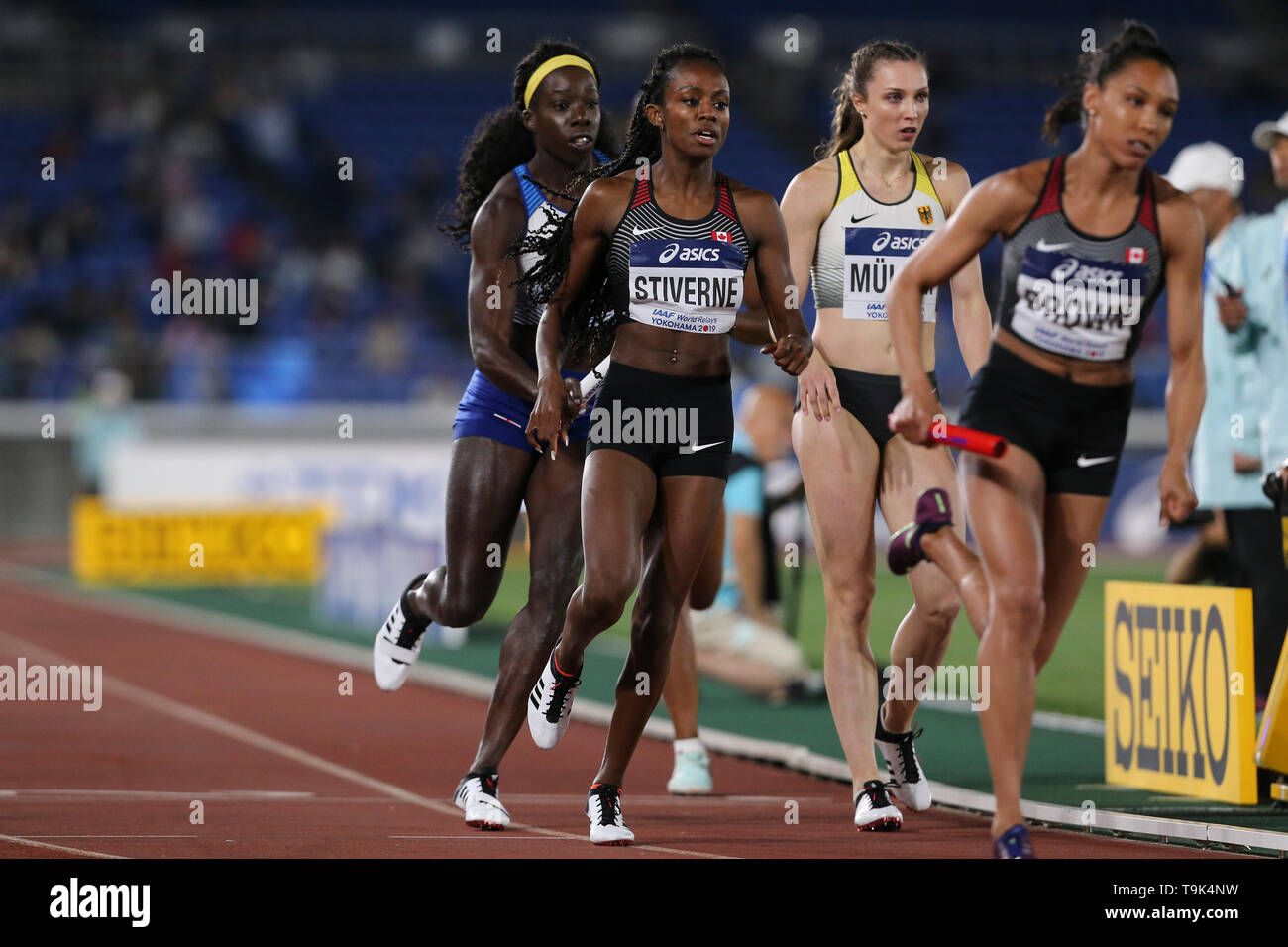 YOKOHAMA, JAPAN - MAY 10: Aiyanna Stiverne of Canada during Day 1 of the 2019 IAAF World Relay Championships at the Nissan Stadium on Saturday May 11, 2019 in Yokohama, Japan. (Photo by Roger Sedres for the IAAF) - Stock Image